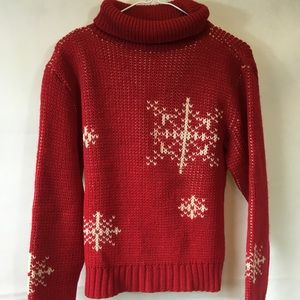 Vintage Red & White Snowflake Turtleneck Sweater